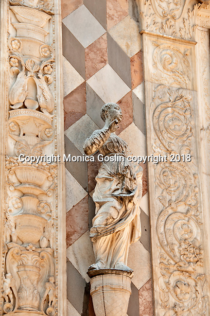Detail of the elaborate facade of the Cappella Colleoni, mausoleum and church in Bergamo, Italy that dates back to the late 15th century