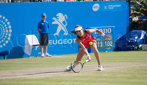 June 18th 2017, Nottingham, England; WTA Aegon Nottingham Open Tennis Tournament day 7 finals day;  Johanna Konta of Great Britain plays a drop shot in her match with Donna Vekic of Croatia