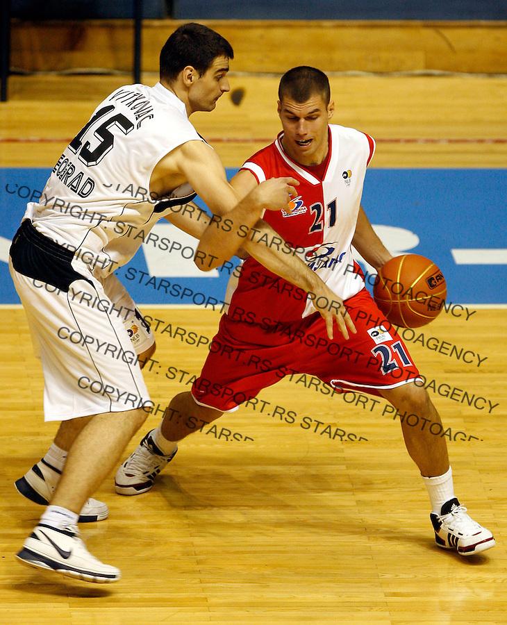 Kosarka, NLB Liga-Regionalna, sezona 2007/08.Partizan Vs. Vojvodina.Milos Bojovic, right and Cedomir Vitkovac.Beograd, 03.10.2007..foto: Srdjan Stevanovic
