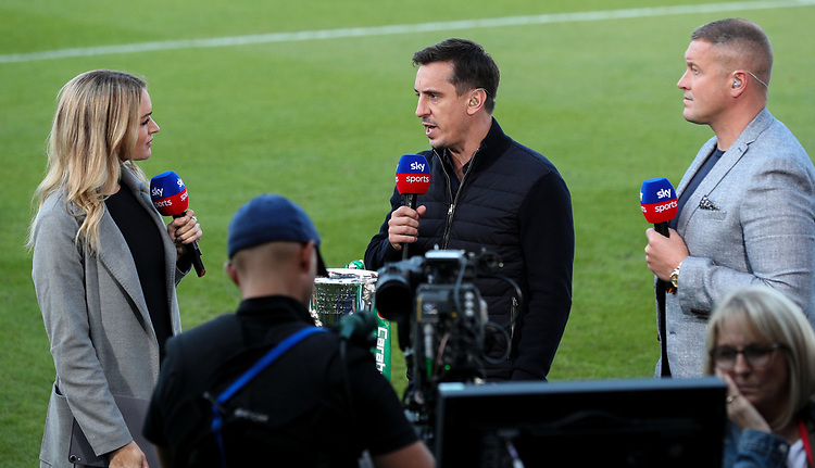 Pundits Gary Neville and Paul Robinson talk to Sky Sports Presenter Laura Woods<br /> <br /> Photographer Alex Dodd/CameraSport<br /> <br /> The Carabao Cup First Round - Salford City v Leeds United - Tuesday 13th August 2019 - Moor Lane - Salford<br />  <br /> World Copyright © 2019 CameraSport. All rights reserved. 43 Linden Ave. Countesthorpe. Leicester. England. LE8 5PG - Tel: +44 (0) 116 277 4147 - admin@camerasport.com - www.camerasport.com
