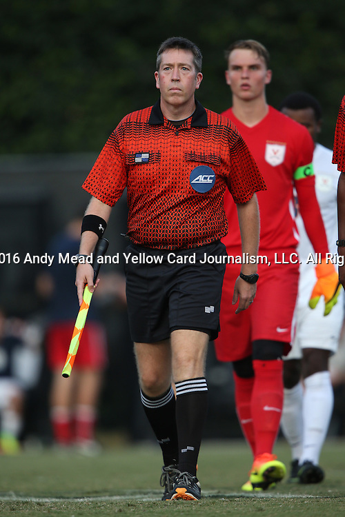 10 September 2016: Assistant Referee Aaron Gallagher. The Wake Forest University Demon Deacons hosted the University of Virginia Cavaliers in a 2016 NCAA Division I Men's Soccer match. Wake Forest won the game 1-0 in sudden death overtime.