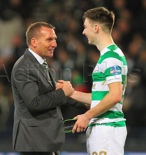 26th November 2017, Hampden Park, Glasgow, Scotland; Scottish League Cup Final, Motherwell versus Celtic;  Brendan Rodgers with Kieran Tierney