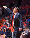Jan 24, 2018; Champaign, IL, USA; Indiana Hoosiers head coach Archie Miller reacts to action on the court during the first half against the Illinois Fighting Illini at State Farm Center. Mandatory Credit: Mike Granse-USA TODAY Sports