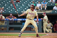 Drew Mendoza (22) of the Florida State Seminoles at bat against the North Carolina Tar Heels in the 2017 ACC Baseball Championship Game at Louisville Slugger Field on May 28, 2017 in Louisville, Kentucky. The Seminoles defeated the Tar Heels 7-3. (Brian Westerholt/Four Seam Images)