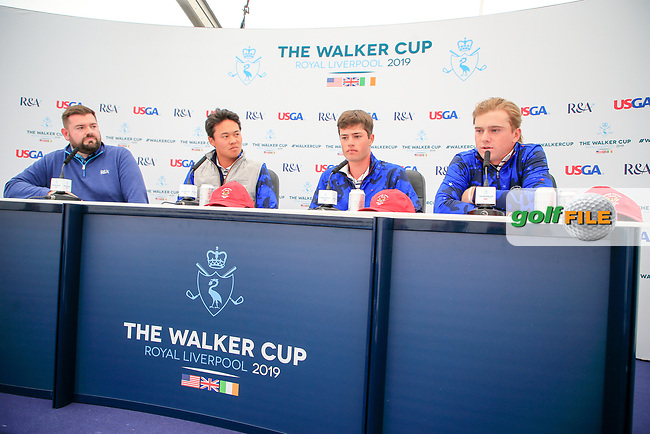 Brandon Wu (USA) Cole Hammer (USA) John Augenstein (USA) during the press conference at the Walker Cup, Royal Liverpool Golf Club, Hoylake, Cheshire, England. 06/09/2019.<br /> Picture Fran Caffrey / Golffile.ie<br /> <br /> All photo usage must carry mandatory copyright credit (© Golffile | Fran Caffrey)