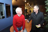 SCHAATSEN: ST. NICOLAASGA: Bijeenkomst Rayonhoofden Vereniging Friesche Elfsteden, 05-02-2012, voorzitter Wiebe Wieling, Piet Jetze Faber, rayon Vrouwbuurt, ©foto: Martin de Jong