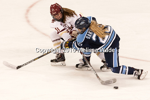 Caitrin Lonergan (BC - 11), Morgan Sakundiak (Maine - 20) - The Boston College Eagles defeated the visiting University of Maine Black Bears 2-1 on Saturday, October 8, 2016, at Kelley Rink in Conte Forum in Chestnut Hill, Massachusetts.  The University of North Dakota Fighting Hawks celebrate their 2016 D1 national championship win on Saturday, April 9, 2016, at Amalie Arena in Tampa, Florida.