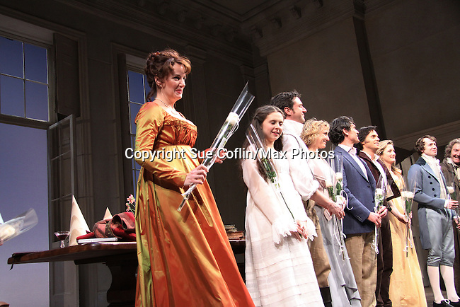 """Margaret Colin and cast - Curtain call of """"Arcadia"""" - Broadway Opening Night on March 17, 2011 at the Ethel Barrymore Theatre, New York City, New York.  Arrivals, Curtain Call and Party after at Gotham Hall. (Photo by Sue Coflin/Max Photos)"""