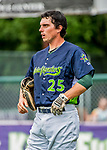 22 June 2017: Vermont Lake Monsters catcher Jordan Devencenzi prepares to start a game against the Brooklyn Cyclones at Centennial Field in Burlington, Vermont. The Lake Monsters fell to the Cyclones 5-3 in NY Penn League action. Mandatory Credit: Ed Wolfstein Photo *** RAW (NEF) Image File Available ***