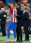 Atletico de Madrid's coach Diego Pablo Cholo Simeone (r) and Jose Maria Gimenez during La Liga match. April 4,2017. (ALTERPHOTOS/Acero)