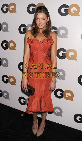 Katie Cassidy.Arriving at the GQ Men Of The Year Party at Chateau Marmont Hotel in Los Angeles, California, USA..November 13th, 2012.full length dress black clutch bag orange strapless  .CAP/ROT/TM.©Tony Michaels/Roth Stock/Capital Pictures