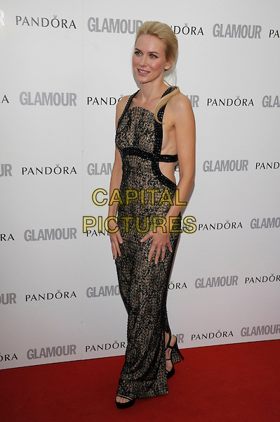 Naomi Watts.Women Of The Year 2012 - Glamour Awards, Berkeley Square, London, England..29th May 2012.full length dress black brown print lace .CAP/PL.©Phil Loftus/Capital Pictures.