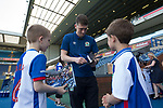 Fans Adam Curran (left) and Noah Snape meeting Richie Smallwood before Blackburn Rovers take on Oxford United in a Sky Bet EFL League One fixture at Ewood Park, Blackburn. The home side had already achieved promotion back to the Championship after one season down in League One. The match ended in a 2-1 victory for the home side, watched by 27,600 spectators which confirmed Blackburn as runners-up in League One.