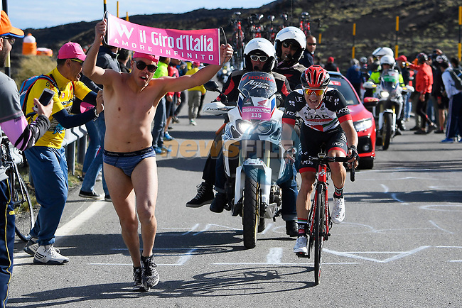 Jan Polanc (SLO) UAE Team Emirates in action on the slopes of Mount Etna during Stage 4 of the 100th edition of the Giro d'Italia 2017, running 181km from Cefalu to Mount Etna, Sicily, Italy. 9th May 2017.<br /> Picture: LaPresse/Fabio Ferrari | Cyclefile<br /> <br /> <br /> All photos usage must carry mandatory copyright credit (&copy; Cyclefile | LaPresse/Fabio Ferrari)