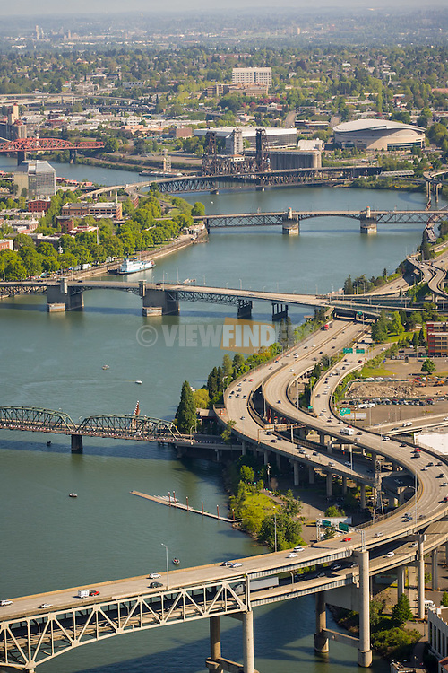 Aerial view of the Willamette river at downtown Portland, Oregon with the Marquam bridge in the foreground.