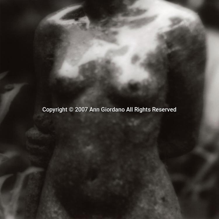 Female nude torso of statue in garden