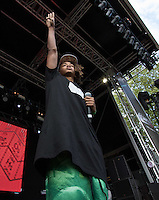 Jaden Smith in front of the crowd during The New Look Wireless Music Festival at Finsbury Park, London, England on Sunday 05 July 2015. Photo by Andy Rowland.