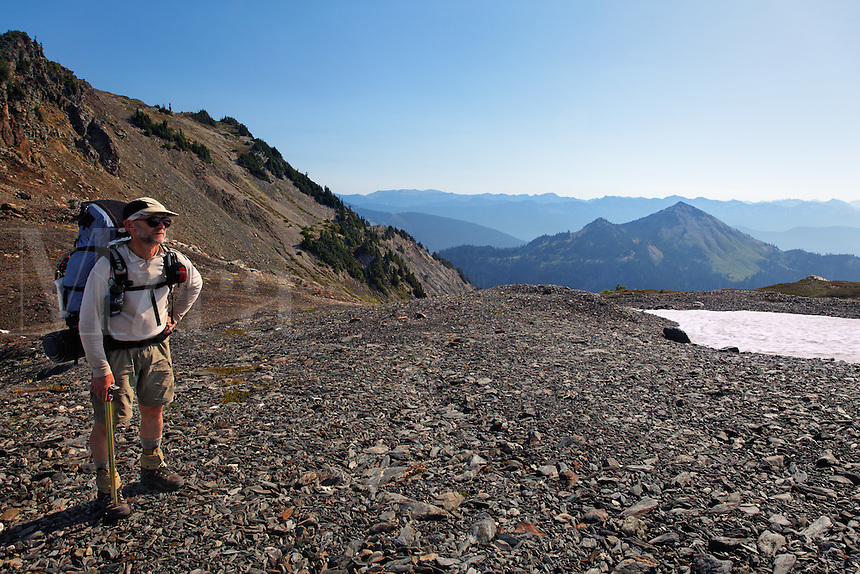 Backpacker on Bailey Range Traverse, Olympic Mountains, Washington