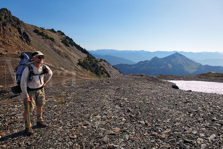 Backpacker on Bailey Range Traverse, Olympic Mountains, Washington
