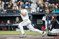 Michigan Wolverines outfielder Jonathan Engelmann (2) follows through on his swing against the Maryland Terrapins on April 13, 2018 in a Big Ten NCAA baseball game at Ray Fisher Stadium in Ann Arbor, Michigan. Michigan defeated Maryland 10-4. (Andrew Woolley/Four Seam Images)