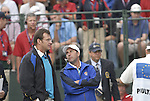 European Captain Nick Faldo and Vice Captain Jose Maria Olazabal on the 1st tee box for the early start during the Morning Foursomes on Day 2 of the Ryder Cup at Valhalla Golf Club, Louisville, Kentucky, USA, 20th September 2008 (Photo by Eoin Clarke/GOLFFILE)