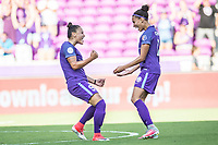 Orlando, FL - Sunday May 14, 2017: Camila, Kristen Edmonds during a regular season National Women's Soccer League (NWSL) match between the Orlando Pride and the North Carolina Courage at Orlando City Stadium.