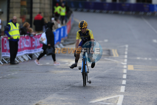 Crash for Jacob Eriksson (SWE) on the run into Harrogate for the first time during the Men U23 Road Race of the UCI World Championships 2019 running 186.9km from Doncaster to Harrogate, England. 27th September 2019.<br />