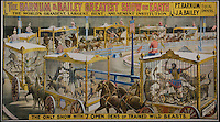 BNPS.co.uk (01202 558833)<br /> Pic: LunkAuctionGalleries/BNPS<br /> <br /> ***Please Use Full Byline***<br /> <br /> A collection of rare 125-year-old posters advertising a world-renowned circus billed as &quot;the greatest show on earth&quot; have emerged for sale for &pound;20,000.<br /> <br /> The stunning posters publicised the famed Barnum and Bailey travelling circus which wowed crowds all over the globe in the late 1800s and early 1900s.<br /> <br /> The five rare posters have been put up for sale by American businessman Sanford Rich, who had previously displayed them on the walls of his renowned delicatessen Kopperman's, an institution in St Louis, Missouri.<br /> <br /> Experts have tipped the posters to fetch $30,000 - around &pound;20,000 - when they go under the hammer at Link Auctions in St Louis on November 14.