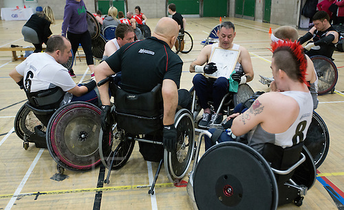 27 MAY 2013 - DONCASTER, GBR - The South Wales Pirates have a team talk before their 2013 Great Britain Wheelchair Rugby Nationals bronze medal match against West Coast Crash at The Dome in Doncaster, South Yorkshire (PHOTO (C) 2013 NIGEL FARROW)