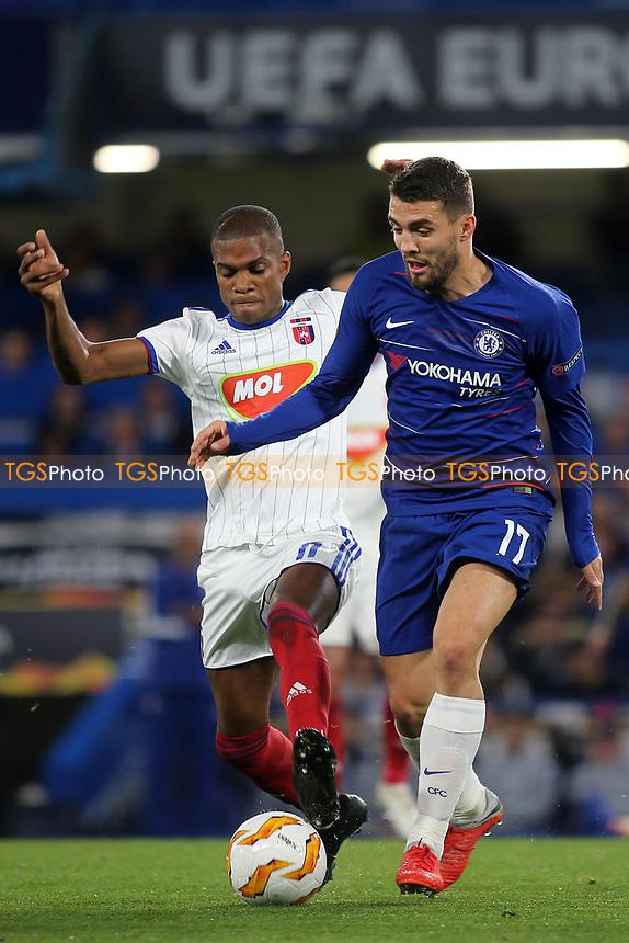 Loic Nego of Mol Vidi and Chelsea's Mateo Kovacic during Chelsea vs MOL Vidi, UEFA Europa League Football at Stamford Bridge on 4th October 2018