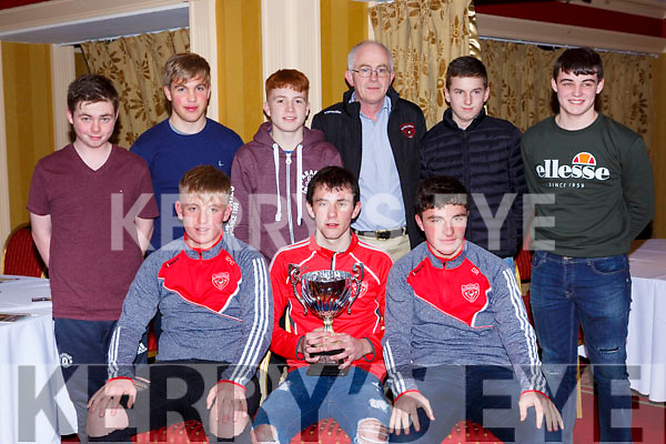 The u16 team that won the East Kerry u16 championship at the Rathmore GAA awards night in the Killarney Avenue Hotel on Friday night front row l-r: Ian O'Connor, Dan murphy, Dara Rahilly. Back row: Lee Phelan, David Dineen, Daniel Herlihy, Donal Murphy Chairman, Ben O'Connor, Daniel O'Sullivan