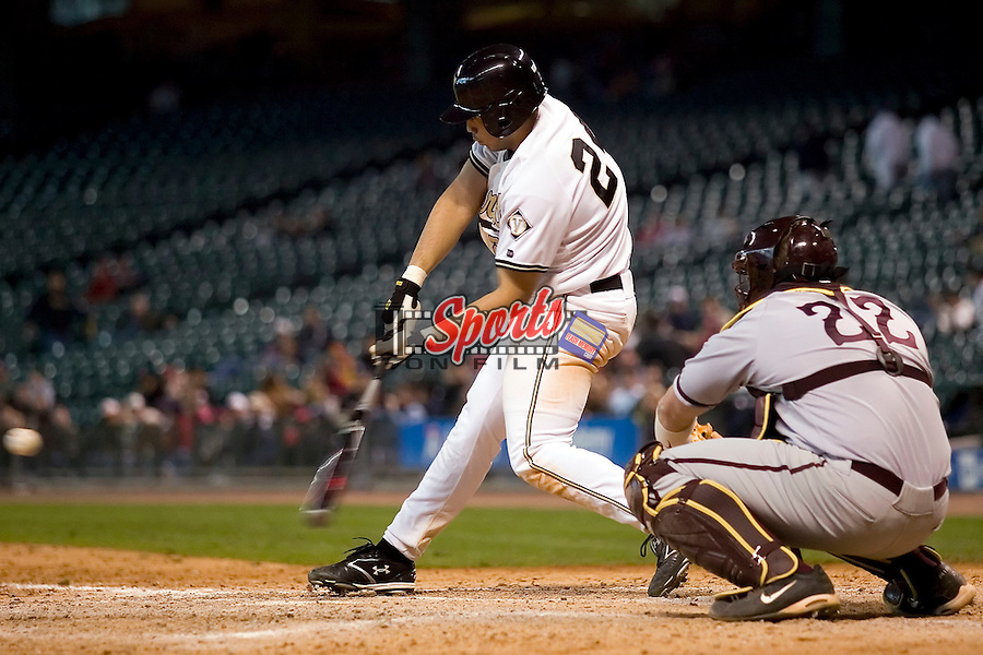 Vanderbilt's Pedro Alvarez (24) crushes a low pitch for a 2-run home run in the 7th inning versus Arizona State at the 2007 Houston College Classic at Minute Maid Park in Houston, TX, Saturday, February 10, 2007.  The Commodores defeated the Sun Devils 7-6 in 10 innings.