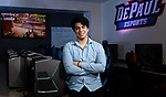 Esteban Perez, a senior in the Driehaus College of Business, is graduating in spring, 2018. Esteban's dream is to start an esports business on the West and South sides to provide infrastructure and programs for youth interested in esports. Esteban also provided input into the DePaul Esports Gaming Center that opened in April, 2018 and was captain of one of the teams that took second place in DePaul's first Big East esports competition. (DePaul University/Jeff Carrion)