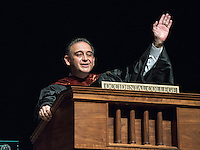 Jorge González, VP for Academic Affairs and Dean of the College. Incoming first years listen as Occidental College faculty, leadership and the Glee Club welcome them during Convocation, Aug. 26, 2015 in Thorne Hall. The annual tradition starts the new school year. This year, the theme will be sustainability, which the guest speakers talked about.<br /> (Photo by Marc Campos, Occidental College Photographer)