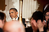 """United States President Barack Obama looks on as Governor Gary Herbert (Republican of Utah), Chairman, National Governors Association, toasts US Vice President Joe Biden during a National Governors Association dinner and reception in the State Dining Room of the White House in Washington, D.C., U.S., on Sunday, Feb. 21, 2016. Obama said this past week the Constitution requires the Senate to consider his nominee to replace Antonin Scalia, who died on February 13, on the U.S. Supreme Court and cast Republican leader's initial refusal to do so as a test of """"fair play."""" <br /> Credit: Pete Marovich / Pool via CNP"""