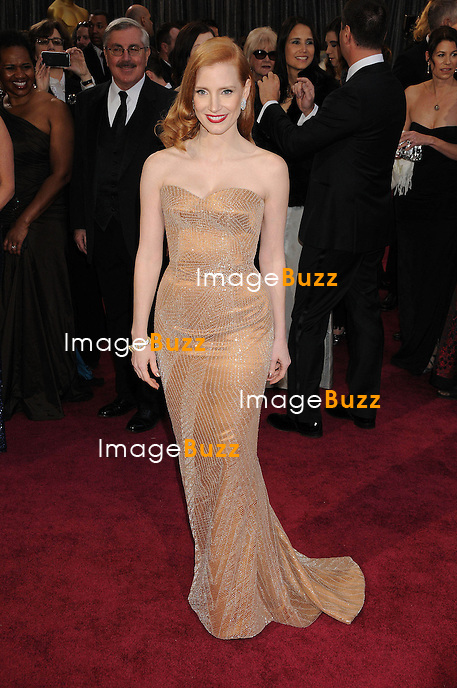 Jessica Chastain arriving for the 85th Academy Awards at the Dolby Theatre, Los Angeles.