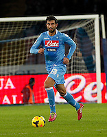Raul Albiol  in action during the Italian Serie A soccer match between SSC Napoli and Parma FC at San Paolo stadium in Naples