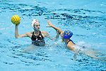 INDIANAPOLIS, IN - MAY 14: Jordan Raney (7) of Stanford University is guarded by Alexa Tillmann (21) of UCLA during the Division I Women's Water Polo Championship held at the IU Natatorium-IUPUI Campus on May 14, 2017 in Indianapolis, Indiana. Stanford edges UCLA, 8-7, to win fifth women's water polo title in the past seven years. (Photo by Joe Robbins/NCAA Photos/NCAA Photos via Getty Images)