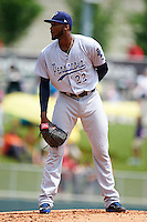 Pensacola Blue Wahoos starting pitcher Amir Garrett (22) looks in for the sign during a game against the Birmingham Barons on May 2, 2016 at Regions Field in Birmingham, Alabama.  Pensacola defeated Birmingham 6-3.  (Mike Janes/Four Seam Images)