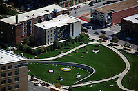 aerial photograph John and Mary Pappajohn Sculpture Park, Des Moines, Iowa