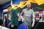 AFC Ajax's coach Erik ten Hag (r) and Lisandro Martinez in press conference after training session. February 19,2020.(ALTERPHOTOS/Acero)