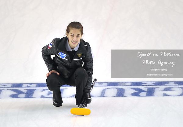 Julia Guzieva (Russian Federation). Womens semi finals. Le Gruyère AOP European Curling Championships 2016. Intu Braehead Arena. Glasgow. Renfrewshire. Scotland. UK. 25/11/2016. ~ MANDATORY CREDIT Garry Bowden/Sport in Pictures - NO UNAUTHORISED USE - +447837 394578