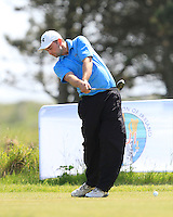 Ian O'Flynn (Cork) on the 1st tee during Round 1 of the Irish Amateur Close Championship at Seapoint Golf Club on Saturday 7th June 2014.<br /> Picture:  Thos Caffrey / www.golffile.ie