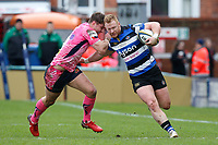 Will Hurrell of Bath Rugby takes on the Exeter Chiefs defence. Anglo-Welsh Cup Final, between Bath Rugby and Exeter Chiefs on March 30, 2018 at Kingsholm Stadium in Gloucester, England. Photo by: Matt Impey / Wired Photos for Onside Images