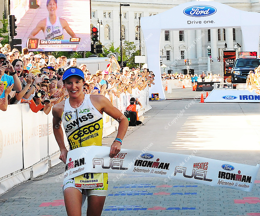 New Zealand's Gina Crawford sets a Madison women's Ironman record with a time of 9:27:26 to come in first place for the women on Sunday, 9/12/10, in Madison, Wisconsin