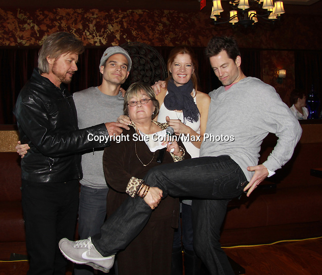 """Drama Brunch - The Young & The Restless stars Stephen Nichols - Greg Rikaart - Michelle Stafford - Michael Muhney pose with Joyce Becker of Soap Opera Festivals who is holding Charlotte, her first granddhild who was just born at a brunch and photos during the Soap Opera Festivals Weekend - """"All About The Drama"""" on March 25, 2012 at Bally's Atlantic City, Atlantic City, New Jersey.  (Photo by Sue Coflin/Max Photos)"""