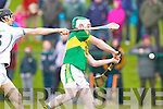 Daniel Collins Kerry in action against Eanna O'Neill Kildare in the National Hurling League at Abbeydorney on Sunday.