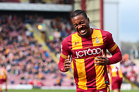 Dom Poleon of Bradford City during the Sky Bet League 1 match between Bradford City and Gillingham at the Northern Commercial Stadium, Bradford, England on 24 March 2018. Photo by Thomas Gadd.