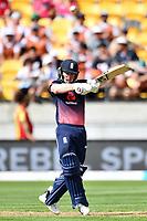 England captain Eoin Morgan in action while batting during the Third ODI game between Black Caps v England, Westpac Stadium, Wellington, Saturday 03rd March 2018. Copyright Photo: Raghavan Venugopal / © www.Photosport.nz 2018