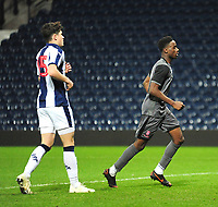 Lincoln City U18's Jordan Adebayo-Smith celebrates scoring his side's first goal<br /> <br /> Photographer Andrew Vaughan/CameraSport<br /> <br /> FA Youth Cup Round Three - West Bromwich Albion U18 v Lincoln City U18 - Tuesday 11th December 2018 - The Hawthorns - West Bromwich<br />  <br /> World Copyright &copy; 2018 CameraSport. All rights reserved. 43 Linden Ave. Countesthorpe. Leicester. England. LE8 5PG - Tel: +44 (0) 116 277 4147 - admin@camerasport.com - www.camerasport.com
